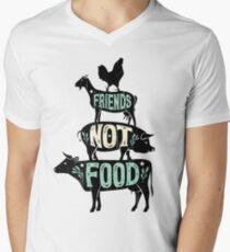 Friends Not Food - Vegan Vegetarian Animal Lovers T-Shirt - Vintage Distressed Men's V-Neck T-Shirt
