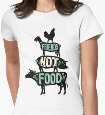 Friends Not Food - Vegan Vegetarian Animal Lovers T-Shirt - Vintage Distressed Women's Fitted T-Shirt