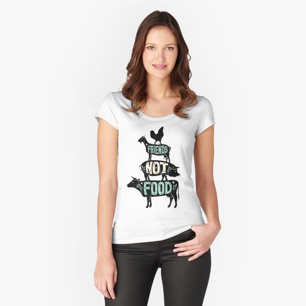 Friends Not Food - Vegan Vegetarian Animal Lovers T-Shirt - Vintage Distressed Fitted Scoop T-Shirt