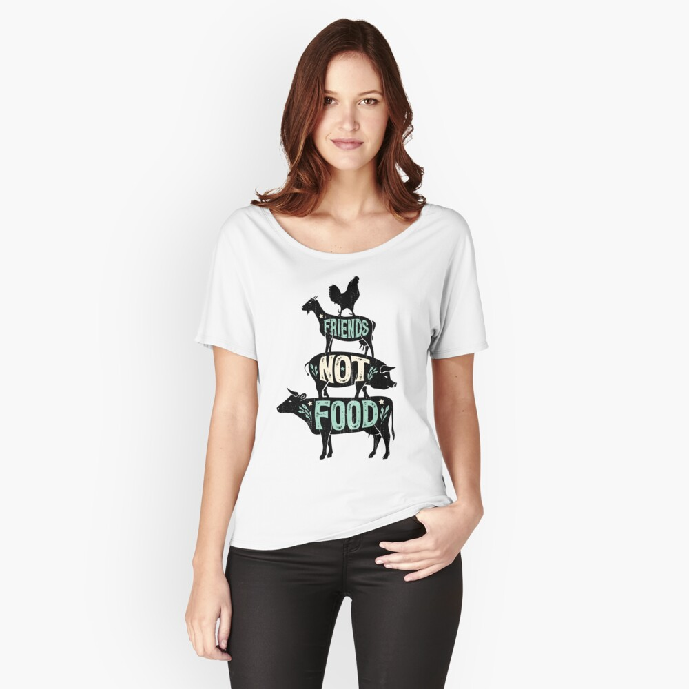Friends Not Food - Vegan Vegetarian Animal Lovers T-Shirt - Vintage Distressed Relaxed Fit T-Shirt