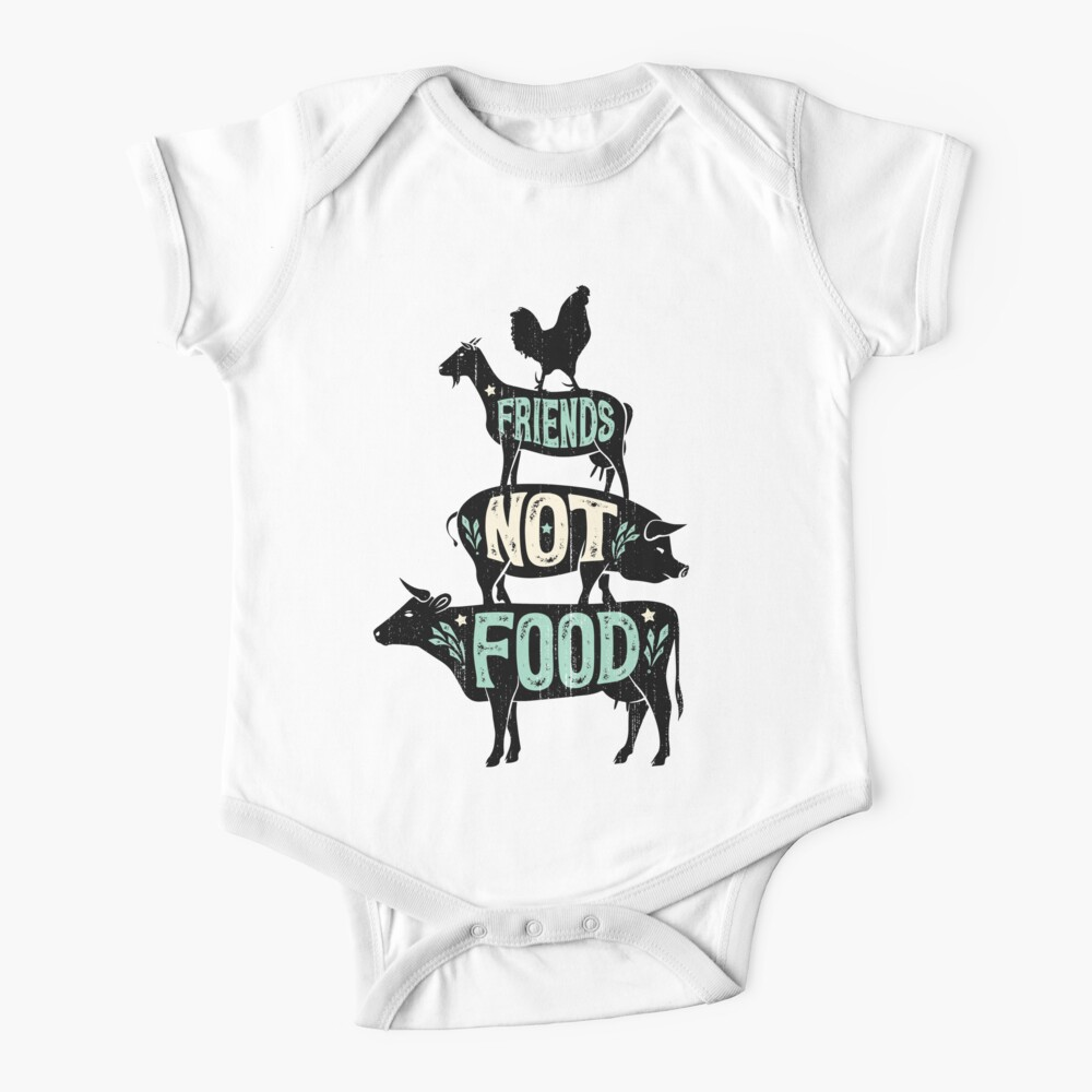 Friends Not Food - Vegan Vegetarian Animal Lovers T-Shirt - Vintage Distressed Baby One-Piece