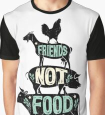 Friends Not Food - Vegan Vegetarian Animal Lovers T-Shirt - Vintage Distressed Graphic T-Shirt