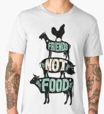 Friends Not Food - Vegan Vegetarian Animal Lovers T-Shirt - Vintage Distressed Men's Premium T-Shirt