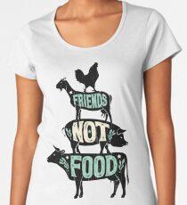 Friends Not Food - Vegan Vegetarian Animal Lovers T-Shirt - Vintage Distressed Women's Premium T-Shirt