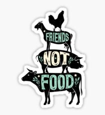 Friends Not Food - Vegan Vegetarian Animal Lovers T-Shirt - Vintage Distressed Sticker