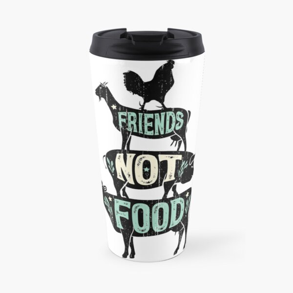 Friends Not Food - Vegan Vegetarian Animal Lovers T-Shirt - Vintage Distressed Travel Mug