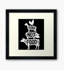 Freunde nicht essen - vegane vegetarische Tierliebhaber T-Shirt - Vintage Distressed Gerahmtes Wandbild