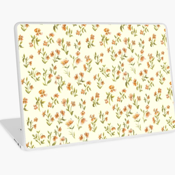 Vintage Orange Floral Pattern Laptop Skin