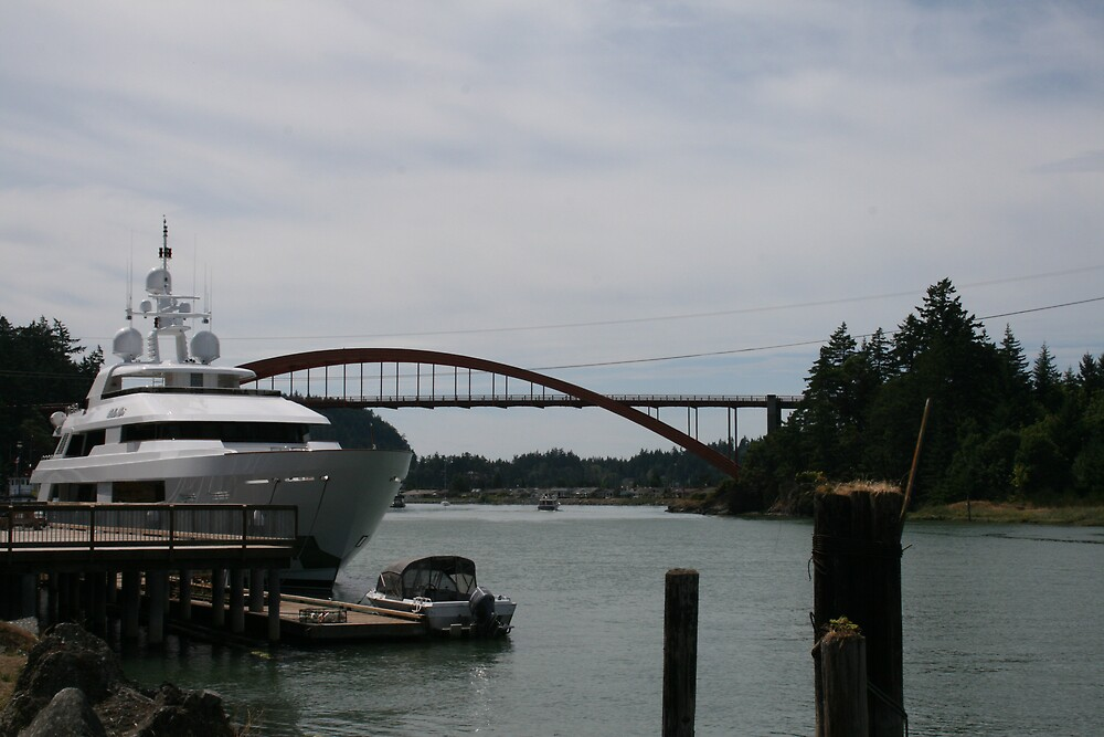 Boat and Bridge. by Valerie