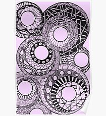 Mandala circles pink Poster