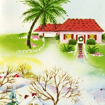 """Christmas Greetings From Our House in Florida to Your House"" Vintage Mid Century Holiday Greeting Card by Framerkat"