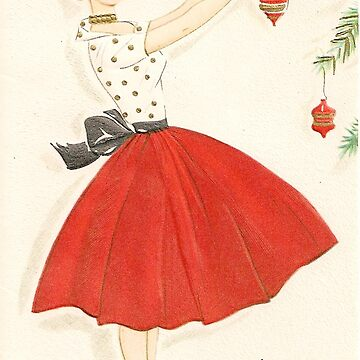 """Hi! From the time it starts"" Vintage Mid Century Pinup Christmas Card  by Framerkat"