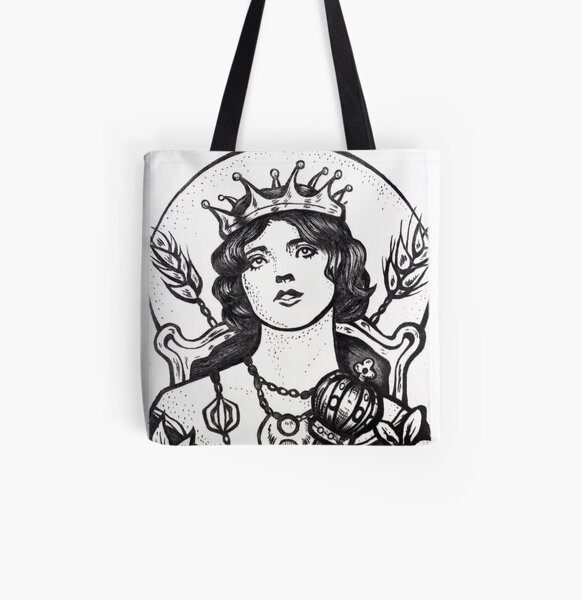 """""""The Empress"""" - Illustration (Etching) Allover-Print Tote Bag"""