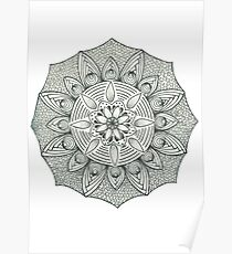 Mandala black and white Poster