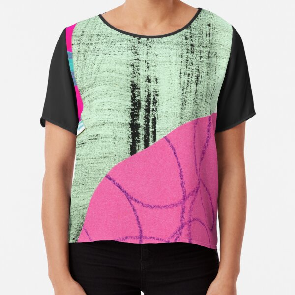 abstract collage Chiffon Top