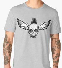 Crazy punk skull with wings Men's Premium T-Shirt