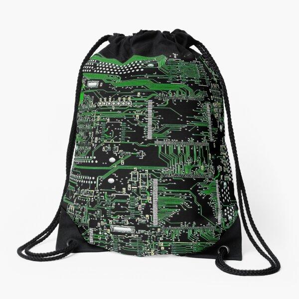 Circuit Board Green Drawstring Bag