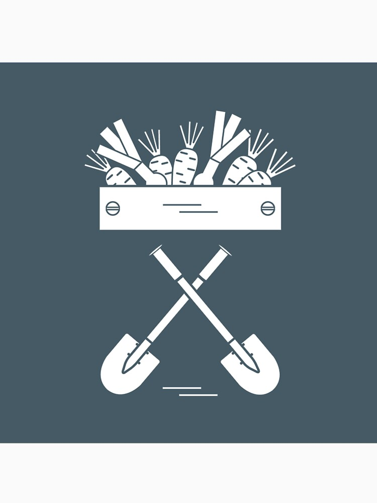 Cute vector illustration of harvest: two shovels, box of carrots and onion. by aquamarine-p