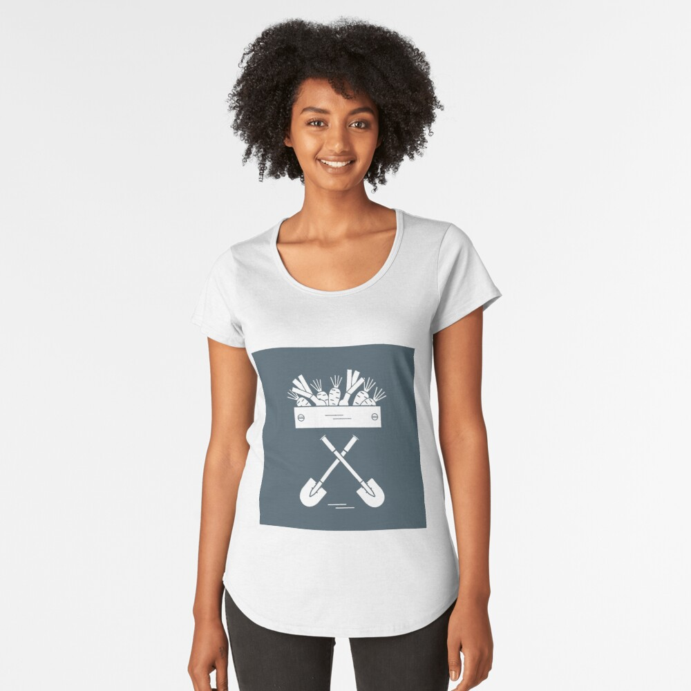 Cute vector illustration of harvest: two shovels, box of carrots and onion. Women's Premium T-Shirt Front