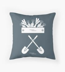 Cute vector illustration of harvest: two shovels, box of carrots and onion. Throw Pillow
