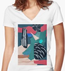 paper collage with embroidery Women's Fitted V-Neck T-Shirt