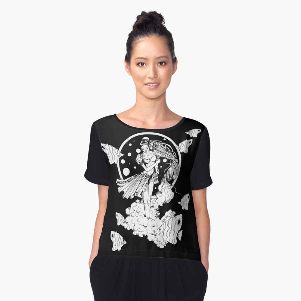 Not the usual black & white - fish version Women's Chiffon Top Front