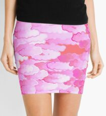 Japanese Clouds, Dawn Pink and Coral   Mini Skirt