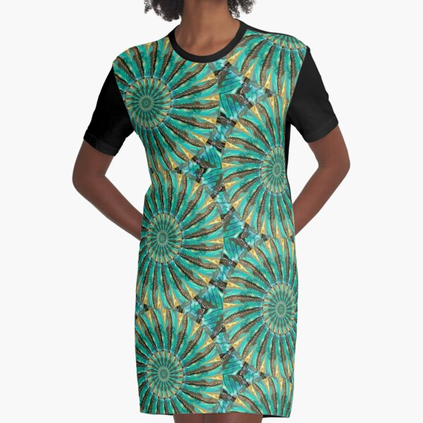 Fragmented Reality Graphic T-Shirt Dress