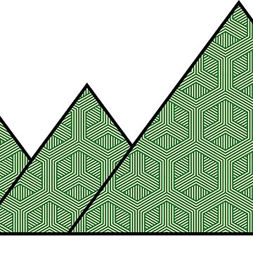 Geometric Green Pattern Mountains by duffieapparel