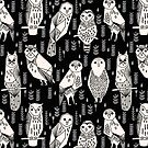 Parliament of Owls - Black & White by Andrea Lauren von Andrea Lauren