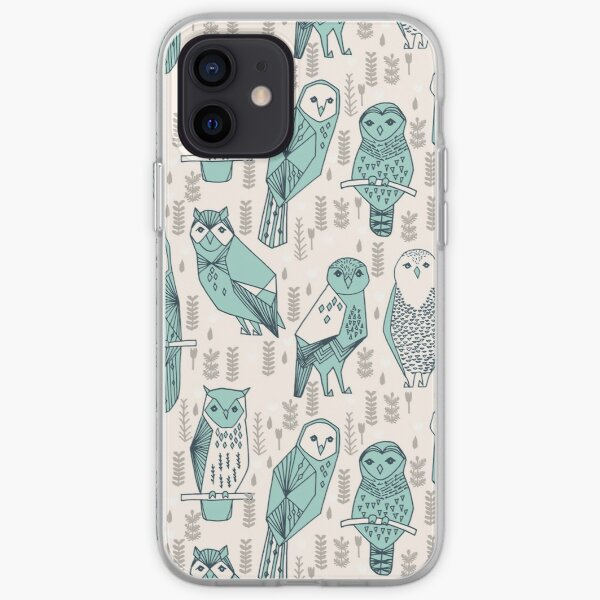 Parliament of Owls - Pale Turquoise by Andrea Lauren iPhone Soft Case