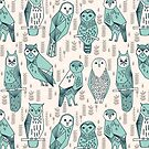 Parliament of Owls - Pale Turquoise by Andrea Lauren von Andrea Lauren