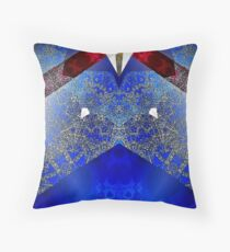 Elegant Royal Blue Red and Gold Abstract Design Throw Pillow