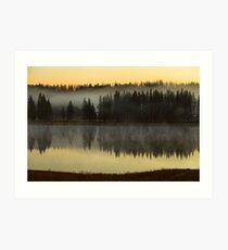 Early Morning Foggy Reflections Art Print