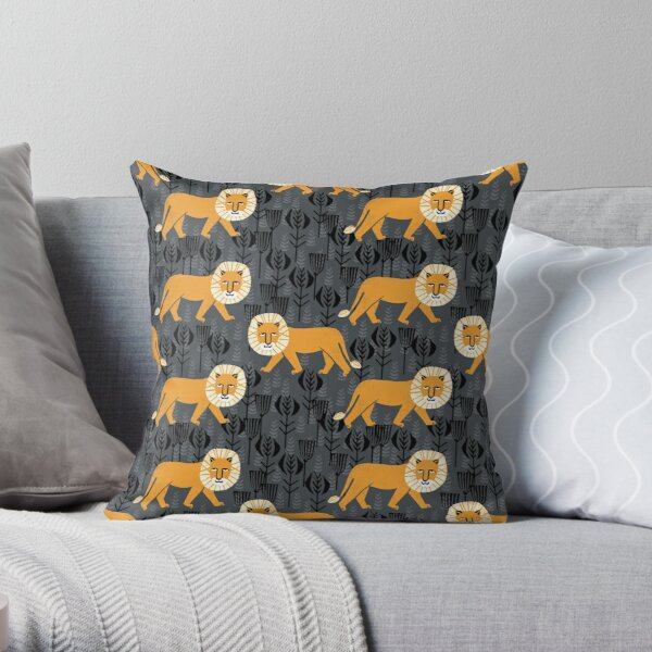 Safari Lion Pattern by Andrea Lauren Throw Pillow