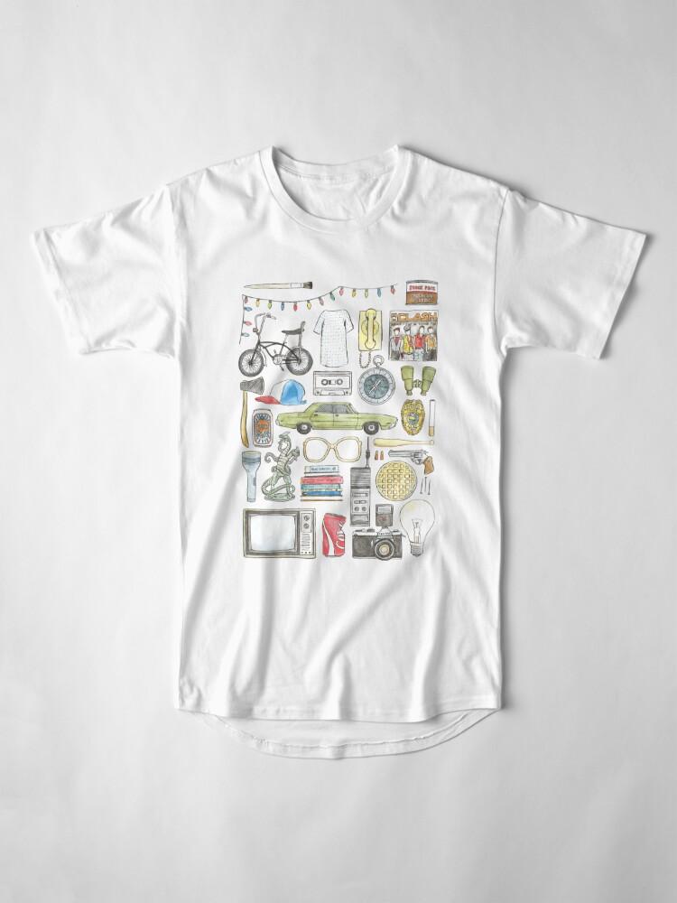 Vista alternativa de Camiseta larga Cosas EXTRAÑAS Objeto ilustración gafas de barbilla citar huevos 011 boca abajo demogorgon once