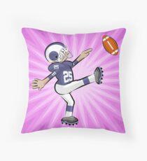 American football boy kicking the ball Throw Pillow