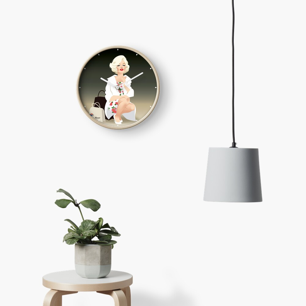 Marilyn white coat Clock