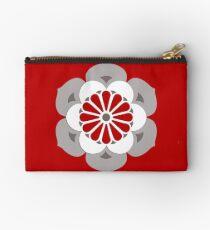Lotus Mandala, Dark Red, Gray and White  Studio Pouch