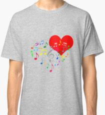 Singing Heart Color On Black Classic T-Shirt