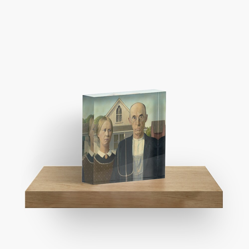 American Gothic Oil Painting by Grant Wood Acrylic Block