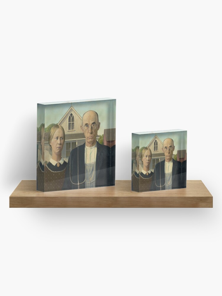 Alternate view of American Gothic Oil Painting by Grant Wood Acrylic Block