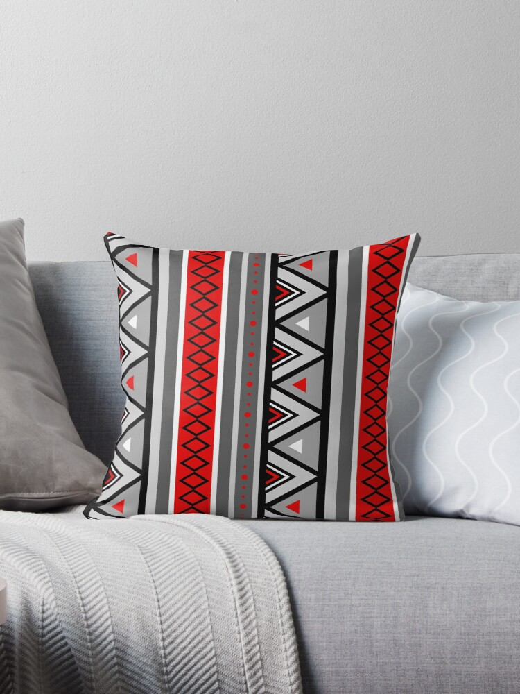 Remarkable Southwestern Geometric Red Gray Throw Pillow By Marymarice Machost Co Dining Chair Design Ideas Machostcouk