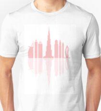 Vector illustration of United Arab Emirates skyscrapers silhouette. Dubai buildings and symbol. T-Shirt