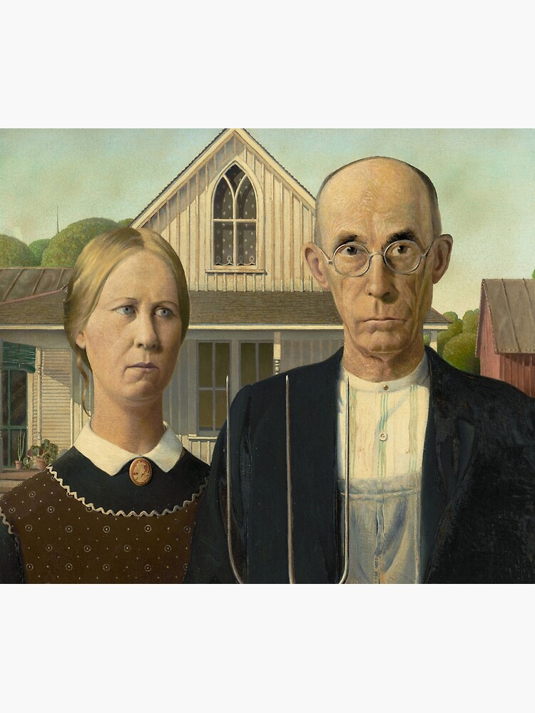 American Gothic Oil Painting by Grant Wood by podartist