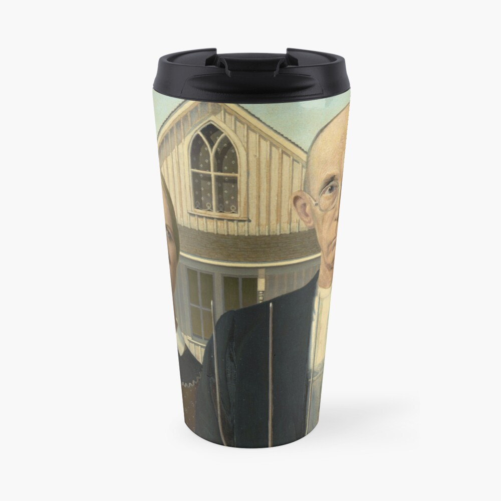 American Gothic Oil Painting by Grant Wood Travel Mug