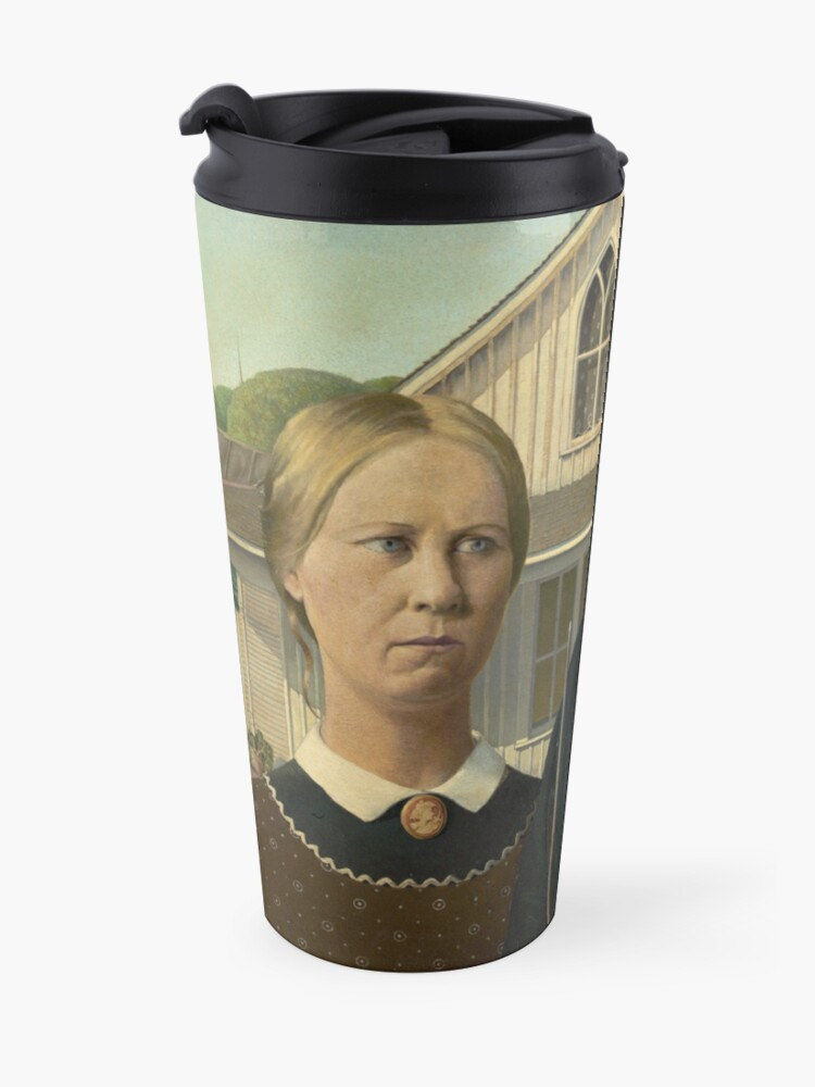 Alternate view of American Gothic Oil Painting by Grant Wood Travel Mug