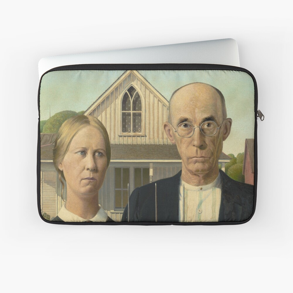 American Gothic Oil Painting by Grant Wood Laptop Sleeve