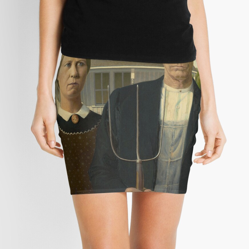 American Gothic Oil Painting by Grant Wood Mini Skirt