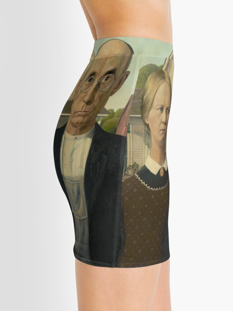 Alternate view of American Gothic Oil Painting by Grant Wood Mini Skirt